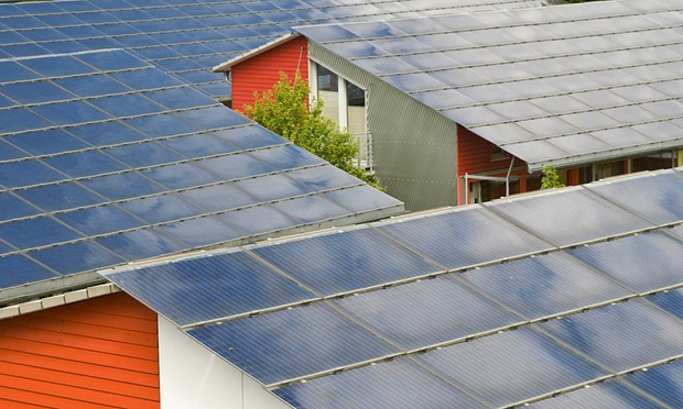 Solar roofs in Freiburg, Baden-Wuerttemberg, Germany show that green building standards could cut electricity use. Photograph: imagebroker/Rex Shutterstock