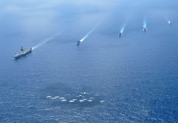A United States Navy Carrier Strike Group in the South China Sea. Every branch of the United States Military is worried that climate change is a significant threat multiplier for future conflicts. And the Navy may bear the brunt of these effects. Source: United States Navy