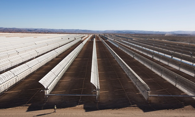 Ouarzazate solar plant will create enough electricity to power a million homes once it is finished. Photograph: Graeme Robertson for the Guardian