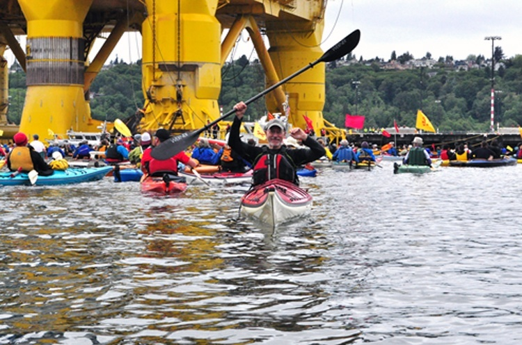 Kayaktivists protest Arctic drilling in Seattle, Washington. Photo credit: Natural Resources Defense Council