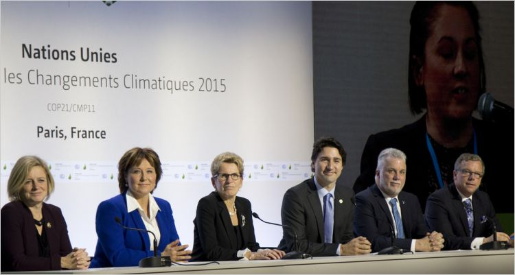 Prime Minister Justin Trudeau, flanked by the premiers of Alberta, B.C., Ontario, Quebec, and Manitoba, at COP21 on November 30, 2015. Photo: Province of B.C.